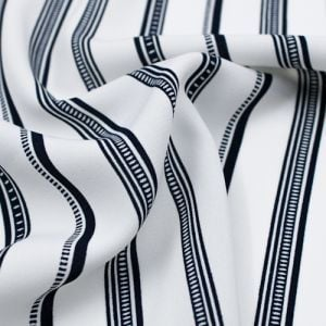 Off White Black Striped Printed on Wool Peach Fabric by the Yard