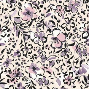 Pearl with Dusty Lilac Floral Painterly Printed Wool Dobby Fabric