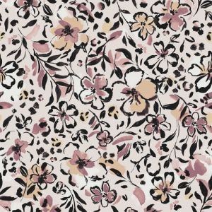 Pearl with Slate Rose Floral Painterly Printed Wool Dobby Fabric by the Yard