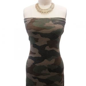 Army Green Brown Camouflage Pattern Printed Poly Rayon Spandex Hacci Brushed Fabric