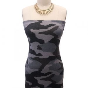Silver Blue with Black Camouflage Pattern Printed Poly Rayon Spandex Hacci Brushed Fabric