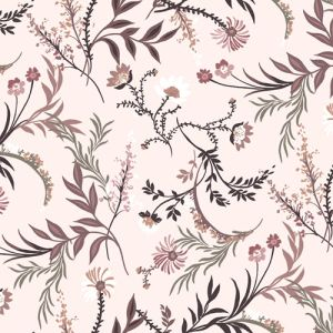 Cream Mocha Floral Botanical Pattern Printed on Poly Moroccan Fabric
