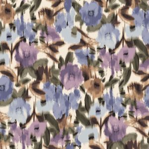 Cream with Dusty Lilac Floral Abstract Printed on Hi-Multi Chiffon Washed Fabric