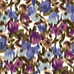 Ivory Blue Floral Abstract Design Printed on Poly Moroccan Fabric