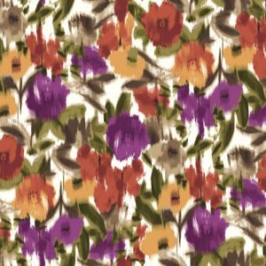 Ivory Spicy Orange Floral Abstract Design Printed on Poly Moroccan Fabric