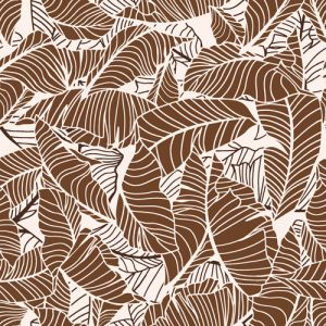Beige Camel Leaf Pattern Printed on Rayon Crepon Fabric by the Yard
