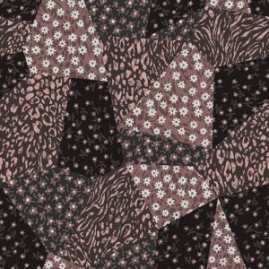 Brown Mauve Floral Patchwork Pattern Printed Rayon Crepon Fabric by the Yard