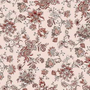 Tan Apricot Floral Jacobean Ethnic Design Printed on Poly Moroccan Fabric