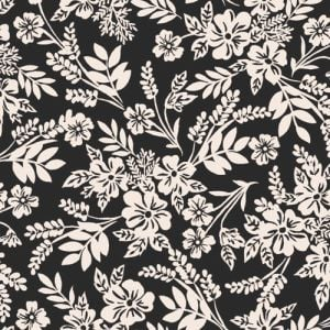 Black Tan Ditsy Floral Pattern Printed on Stretch Satin Fabric