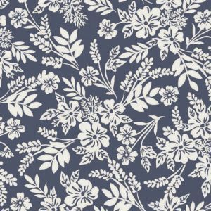 Blue Off White Ditsy Floral Pattern Printed on Stretch Satin Fabric