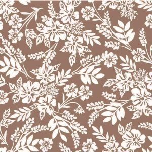 Stone Off White Ditsy Floral Pattern Printed on Stretch Satin Fabric