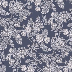Antique Blue with Off White Floral Jacobean Pattern Printed Rayon Crepon Fabric
