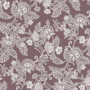 Pale Mauve with Off White Floral Jacobean Pattern Printed Rayon Crepon Fabric