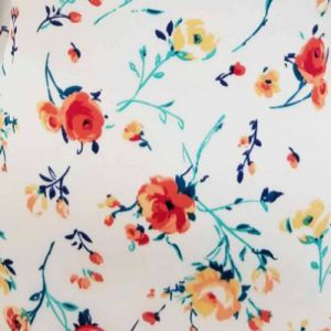 Off White Flame Painterly Floral Pattern Printed on Wool Dobby Fabric