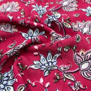 Maroon Blue Floral Jacobean Patten Printed on Rayon Crepon Fabric by the Yard