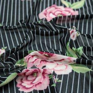 Black Pink Medium Flowers Pattern Printed Stretch Power Mesh Fabric by the Yard