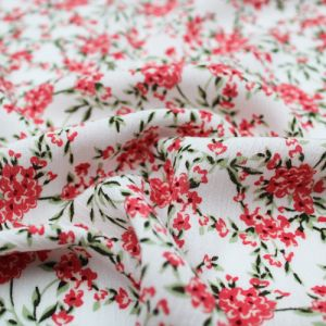 Off White Coral Ditsy Floral Patten Printed on Rayon Crepon Fabric by the Yard