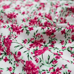 Off White Fuchsia Ditsy Floral Patten Printed on Rayon Crepon Fabric the Yard