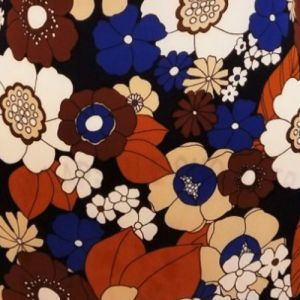 Navy Brown Floral Graphic Design Printed on Wool Dobby Fabric