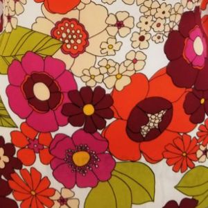 Off White Tangerine Floral Graphic Design Printed on Wool Dobby Fabric