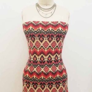 Peach Lipstick Pink Aztec Tribal Pattern Printed Waffle Brushed Poly Spandex Fabric