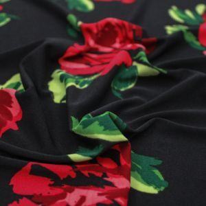 Black Red Medium Floral Pattern Printed on ITY Stretch Jersey Knit Fabric by the Yard