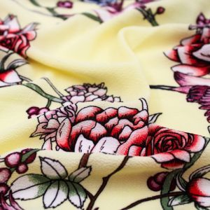 Banana Peach Floral Pattern Printed Bubble Chiffon Fabric by the Yard