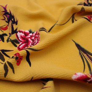 Mustard Crimson Floral Pattern Printed Bubble Chiffon Fabric by the Yard
