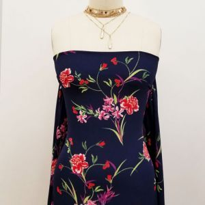 Navy with Red Floral Pattern Printed Bubble Chiffon Fabric by the Yard