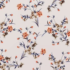 Pale Blue Orange Floral Pattern Printed Bubble Chiffon Fabric by the Yard