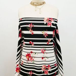 Black Red Floral with Stripes Pattern Printed Scuba Crepe Techno Knit Fabric by the Yard