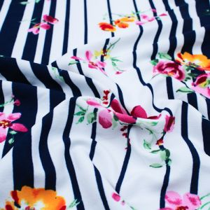 Navy Pink Floral with Stripes Pattern Printed Scuba Crepe Techno Knit Fabric by the Yard