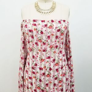 Dusty Pink and Fuchsia Floral with Vertical Stripes Prints on Crepe Chiffon Fabric