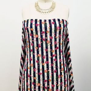 Navy with Hot Pink Floral with Vertical Stripes Prints on Crepe Chiffon Fabric