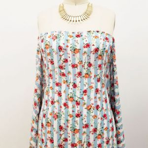 Sky Coral Floral with Vertical Stripes Prints on Crepe Chiffon Fabric