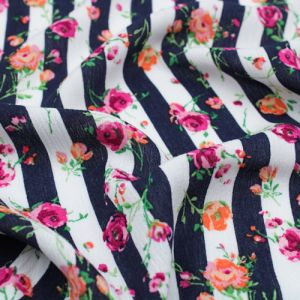 """Navy Hot Pink 51"""" Light- Weight Rayon Crepon Fabric"""