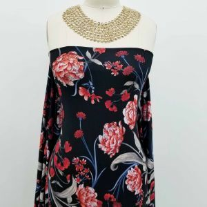 Black with Red Big  Flowers Printed on Jersey Knit Fabric