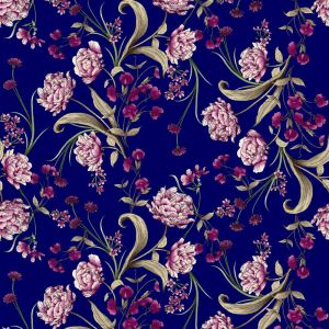 Navy with Magenta Big  Flowers Printed on Jersey Knit Fabric
