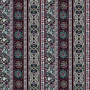 Teal Berry Jacobean Ethnic Pattern Printed on Jersey Knit Fabric