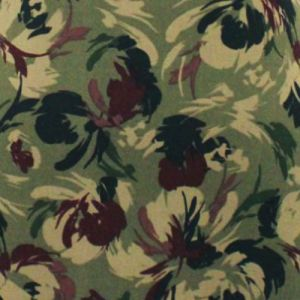 Army Green Maroon Floral Abstract Pattern Printed on Double-Sided Brushed DTY Stretch Fabric