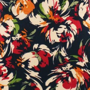 Navy Red Medium Flowers Designed Printed Double-Sided Brushed DTY Fabric