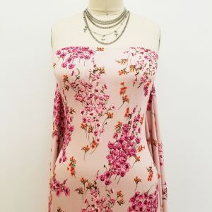 Blush Pink Floral Printed on Rayon Spandex Jersey Knit Fabric