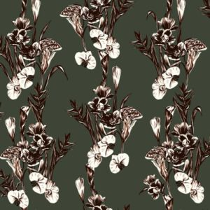 Olive Rust Large Floral Pattern Printed Poly Rayon Jersey Knit Fabric