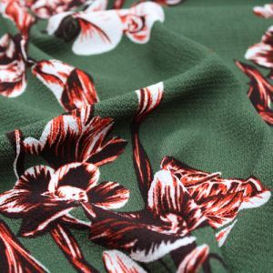 Olive Rust Large Flowers Design Printed Bubble Chiffon Fabric by the Yard