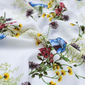 Off White with Blue Floral Pattern Printed Bubble Chiffon Fabric by the Yard