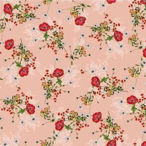 Pink Red Floral Pattern Printed Bubble Chiffon Fabric by the Yard