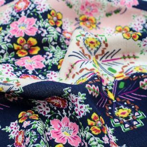 Navy Pink Small Floral Pattern Printed Rayon Crepon Fabric by the Yard