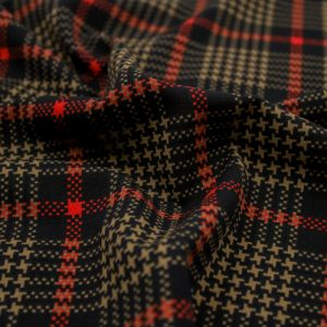 Black and Red Checkered Pattern Printed Scuba Crepe Techno Knit Fabric by the Yard