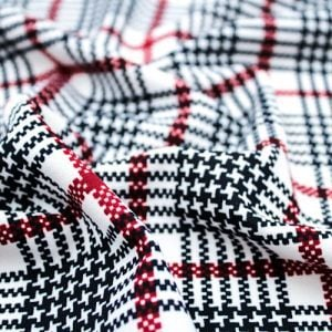 Off White Wine Checkered Pattern Printed Scuba Crepe Techno Knit Fabric by the Yard