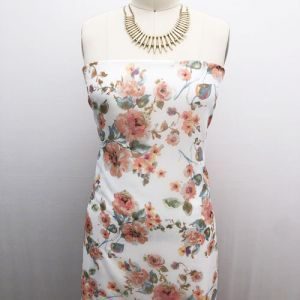 Off White with Peach Medium Floral Pattern Printed Hi Multi Chiffon Fabric by the Yard